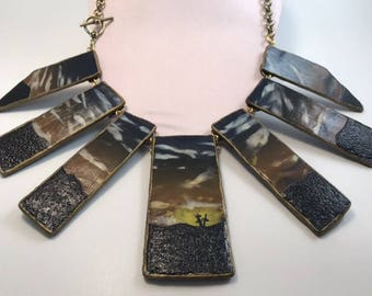 Polymer Clay Cross Landscape 7 Tile Necklace with Brass Chain