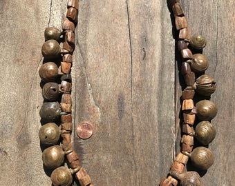 Stunning rustic tribal neclace made of very old bronze bells