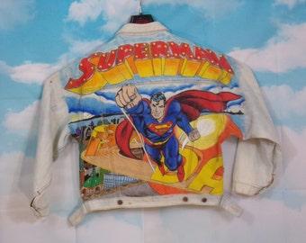 Veste jean bleue délavée, veste en jean Motif Superman peint main Taille M over size