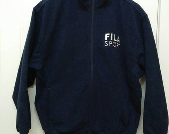 Rare Vintage FILA SPORT Spell Out Embroidered Fleece Sweater Size M Medium