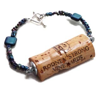 Black Rainbow Wine Cork Bracelet, Wine Cork Jewelry, Bead Bracelet, Recycled Cork, Wine Lover Gift, Graduation Gift, VinoCorks, Handmade