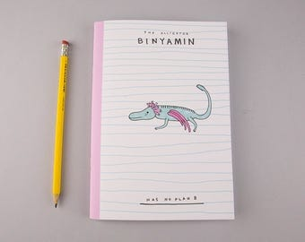 Stationery Gift, Journal, A5 Notebook With Lines, Illustrated Notebook Planner, Cute Stationery, Alligator Illustrated Notebook, Notepad