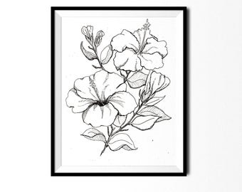 Hibiscus Print, Botanical Illustration, Wall Art, Pen and Ink Print, Floral Art, Botanical Print, Black and White Flower Print, Flower Print
