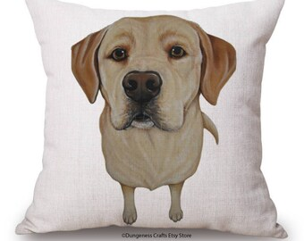 "Golden Labrador Cushion Cover - 18"" by 18"" - Cute Dog Cushion"