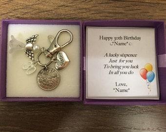 Personalised 30th birthday gift lucky sixpence keyring handbag charm  -choice of charms - gift for her