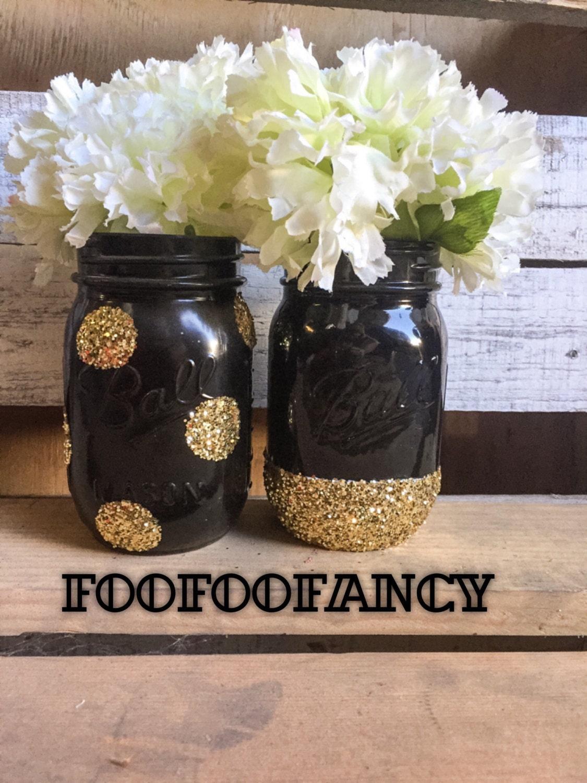 Black and gold mason jar centerpieces