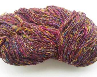 Purple multi-color sari silk yarn, hand blended handspun silk yarn, artisan yarn, knitting, weaving yarn