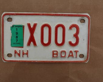 Vintage 1987 New Hampshire Boat License Plate