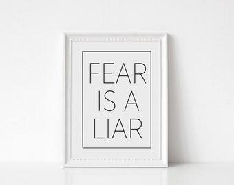 Fear is a Liar Print, Fearless, Faith Over Fear, Christian Wall Art, Motivational, Inspirational, Bible Verse, Minimalist, Prints, Wall Art