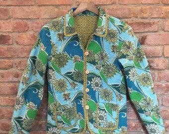 Vintage Quilted Jacket - 90s Vintage Jacket - Quilted Cotton Coat - Reversible Jacket - 90s Vintage Cardigan