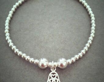 Sterling Silver Mini Hamsa Hand Charm Bracelet