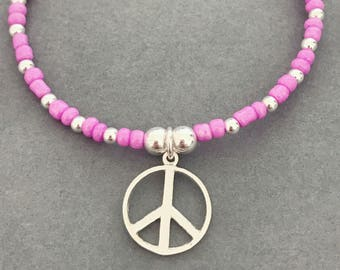 Sterling Silver & Purple Seed Bead Peace Charm Bracelet