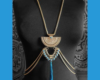 Blue & Gold Necklace Belly Chain // Gold Body Chain