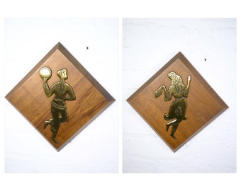 Wood and Brass Mid Century Dancer Wall Plaques