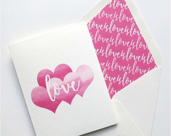 Valentines Day Cards - Love Is Love Card - Single Card or Set of Cards - Pink Love and Hearts