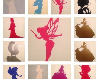 Disney princess inspired water/sports bottle silhouettes vinyl/stickers/decals