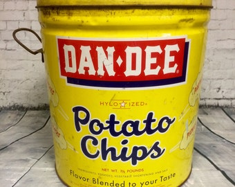 1950's Dan Dee Potato Chip Tin for Collector Decor Display Vintage Advertising Storage Container