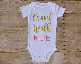 Crawl Walk Ride Bike Baby Bicycle Baby Cycle Baby Spin Mom Future Racer Shower Gift One Piece Bodysuit Race Cycling Cyclist Racing Infant