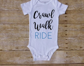 Crawl Walk Ride Bike Baby Bicycle Baby Cycle Baby Spin Mom Future Racer Shower Gift One Piece Bodysuit Race Cycling Cyclist Racing blue