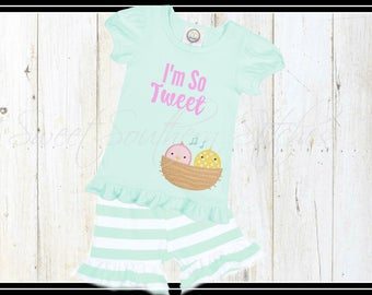 Birds In A Nest Tee / EMBROIDERED / I'm So Tweet Tee / Girls Ruffled Tee / Girls Monogram Ruffle Tee / Girls Monogram Birds In A Nest Tee