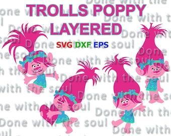 Trolls Poppy - Trolls svg - Trolls layered - Trolls cut file - Trolls vector - Trolls princess - Svg eps dxf - Layer Cutting File
