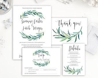 Wedding Invitation, Wedding Invites, Laurel Invitation, Wedding Invitation Set, Greenery Wedding Invitation, Green, White, Invitation Suite