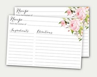 recipe card peony recipe card bridal shower recipe card printable recipe card diy recipe card floral recipe card recipe card roses