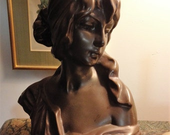 French Chalk-ware Maiden/Lady Bust Statue