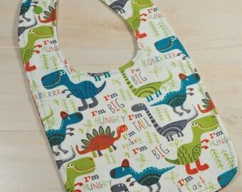 Dinosaur Baby Bib, Dino Bib, Baby Boy, Bibs for Boy, Baby Gift, Reversible Bib, Baby Bibs Handmade, Dinosaur Baby Shower, Unique Baby Gift
