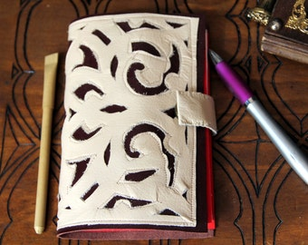 Travel diary, drawing notebook,travel journal, orient pattern, sketch book, vegetal scroll, oriental arabesque, fantasy, stitching