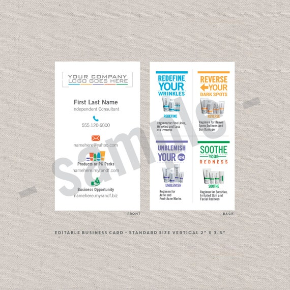 2 sided business cards icons EDITABLE instant