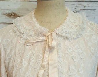Vintage, 1960's, Odette Barsa/Neiman Marcus pink lace kimono/ robe