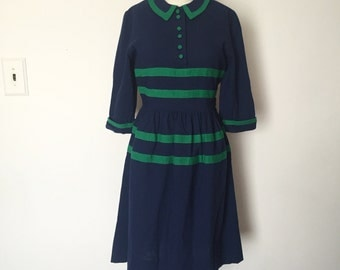Vintage 1940's 1950's Stunning Marshall Fields Cotton Dress by Clarice XS Small - OSV0066