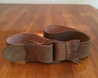 Fringed Ralph Lauren Brown Suede Turn-back Belt.  Size M - 12