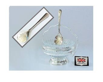 Vintage Silverplate and Cut Glass Condiment Dish or Candy Dish with Spoon, Made in England