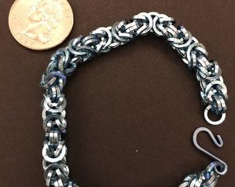Sky Blue Sqaure Cut Byzantine Bracelet