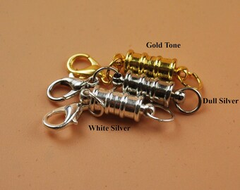 Ribbed Barrel Tube Easy Magnetic Clasp Converter Strong Lobster Closure Necklace