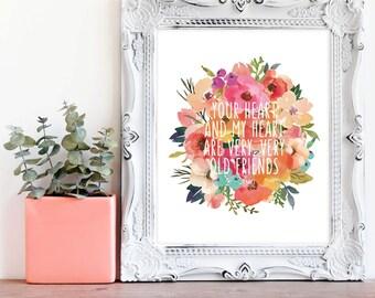 Hafiz Quote - Flower Bouquet Print - Friend Quote - Love Quote - Bedroom Print - Couple Print - Watercolor Flowers - Instant Download - 8x10