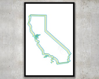California Trio Map Print