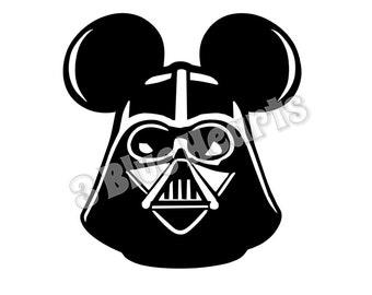 Darth Vader Mickey Head, Star Wars Mickey Head SVG dxf pdf Studio, Darth Vader SVG dxf pdf Studio