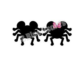Mickey and Minnie Spider Studio dxf pdf SVG, Mickey Spider, Minnie Spider, Halloween Studio SVG, Disney Halloween