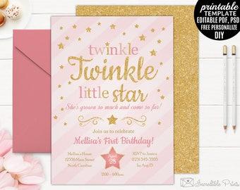 Twinkle Twinkle Little Star Birthday Invitation Template. Printable Gold Girl Birthday Invitation. Girl Little Star Download.