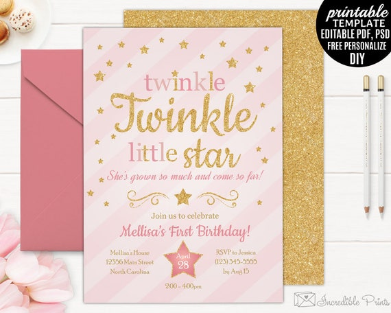 Twinkle twinkle little star birthday invitation template twinkle twinkle little star birthday invitation template printable gold girl birthday invitation girl little star download stopboris Image collections