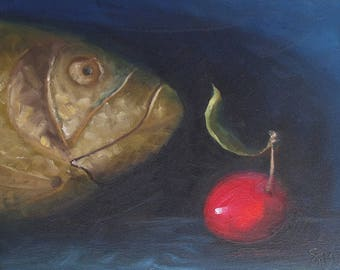 Wooden fish and crab apple
