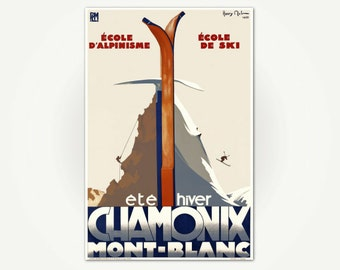 Chamonix Mont-Blanc Ski Poster Print - Ete/Hiver Chamonix Mont-Blanc - Vintage French Poster Art