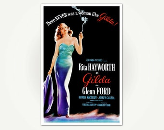 Rita Hayworth in Gilda - Classic Movie Poster Print - Vintage Hollywood Movie Poster Art