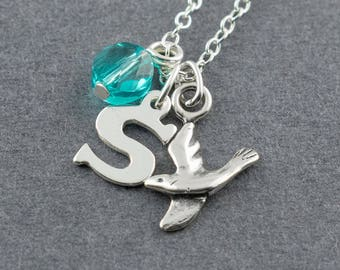 Personalized Bird Charm Necklace, Sterling Silver Necklace, Birthstone Necklace, Initial Charm