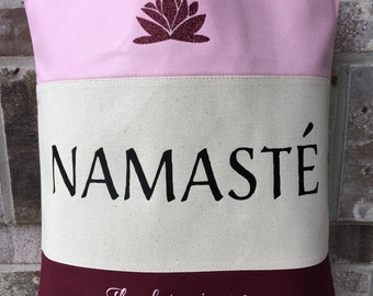 Yoga Bag - Yoga Teacher Gift - Namaste - Mindfulness - Gift for Yogi - Lotus - Yoga Lover - Large Canvas Tote Bag - Meditation - Mothers Day