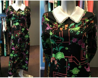 Vintage 1970s Black Cabbage and Flower Maxi Dress with Rouleau Loop Collar - Size 6