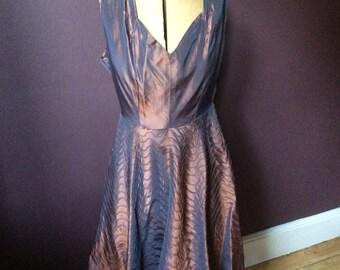 1950's Bronze Taffeta Dress